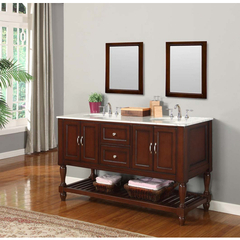 Buy J & J International 60 Inch Espresso Mission Turnleg Double Vanity Sink Cabinet w/ Carrera White Marble Top on sale online