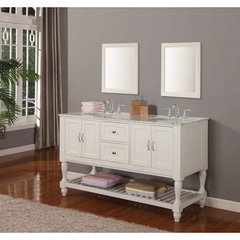 Buy J & J International 60 Inch Pearl White Mission Turnleg Double Vanity Sink Cabinet w/ Carrera White Marble Top on sale online