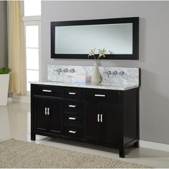 Buy J & J International 63 Inch Hutton Double Bathroom Vanity Sink Console in Ebony w/ Carrera White Marble Top on sale online
