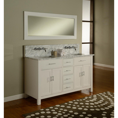 Buy J & J International 63 Inch Hutton Double Bathroom Vanity Sink Console in White w/ Carrera White Marble Top on sale online