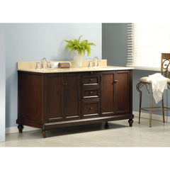 Buy J & J International 70 Inch Classic Espresso Double Vanity Sink Cabinet w/ Beige Marble Top on sale online