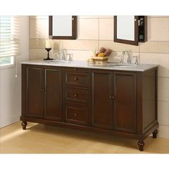 Buy J & J International 70 Inch Classic Espresso Double Vanity Sink Cabinet w/ Carrera White Marble Top on sale online