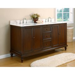 Buy J & J International 70 Inch Classic Espresso Double Vanity Sink Cabinet w/ White Marble Top on sale online