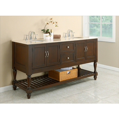 Buy J & J International 70 Inch Espresso Mission Turnleg Double Vanity Sink Cabinet w/ Beige Marble Top on sale online