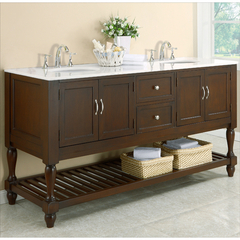 Buy J & J International 70 Inch Espresso Mission Turnleg Double Vanity Sink Cabinet w/ White Marble Top on sale online