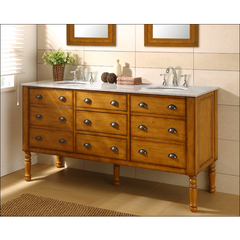 Buy J & J International 70 Inch Harvest Double Vanity Sink Cabinet w/ Carrera White Marble Top on sale online