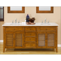 Buy J & J International 70 Inch Oak Shutter Double Vanity Sink Cabinet w/ White Marble Top on sale online