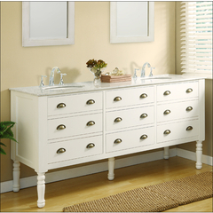 Buy J & J International 70 Inch Pearl White Harvest Double Vanity Sink Cabinet w/ Carrera White Marble Top on sale online
