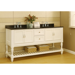 Buy J & J International 70 Inch Pearl White Mission Turnleg Double Vanity Sink Cabinet w/ Black Granite Top on sale online
