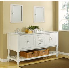 Buy J & J International 70 Inch Pearl White Mission Turnleg Double Vanity Sink Cabinet w/ Carrera White Marble Top on sale online