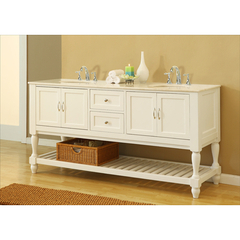 Buy J & J International 70 Inch Pearl White Mission Turnleg Double Vanity Sink Cabinet w/ White Marble Top on sale online
