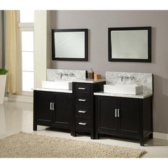 Buy J & J International 84 Inch Horizon Double Vanity Sink Console in Ebony w/ White Carrera Marble Top on sale online