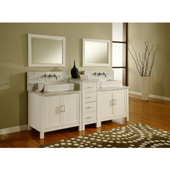 Buy J & J International 84 Inch Horizon Double Vanity Sink Console in Pearl White Finish w/ White Carrera Marble Top on sale online