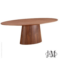 Buy J&M Furniture Chelsea 87x44 Oval Pedestal Table in Walnut on sale online