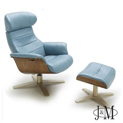 Buy J&M Furniture Karma Lounge Chair w/ Ottoman in Blue on sale online