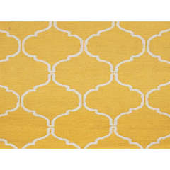 Buy Jaipur Rugs Flat Weave Geometric Pattern Gold and Yellow Wool Handmade Rug - MR65 on sale online