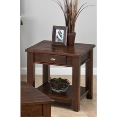 Buy Jofran 731 Series Urban Lodge Brown 24 Inch Square End Table w/ Drawer and Shelf on sale online