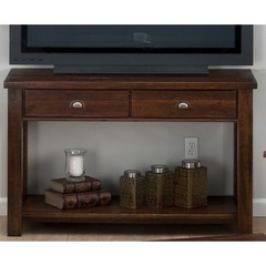 Buy Jofran 731 Series Urban Lodge Brown 48x18 Rectangular Sofa Table w/ 2 Drawers and Shelf on sale online