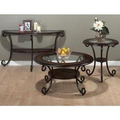Buy Jofran Amelia Pine 3 Piece 36 Inch Round Occasional Table Set w/ Tempered Glass Insert in Brown, Dark Wood on sale online