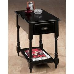 Buy Jofran Antique Black 24x16 Rectangular Chairside Table w/ Turned Leg in Black on sale online