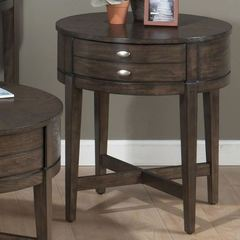 Buy Jofran Antique Gray Oak 22x22 Round End Table w/ X-Base and Drawer in Gray Oak on sale online