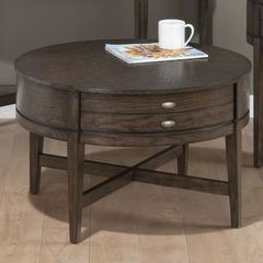Buy Jofran Antique Gray Oak 30 Inch Round Cocktail Table w/ X-Base and and 1 Pull-Thru Drawer in Gray Oak Veneer Finish on sale online