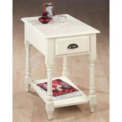 Buy Jofran Antique White 24x16 Rectangular Chairside Table w/ Turned Leg in White on sale online