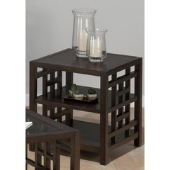 Buy Jofran Apex Dark Brown 22 Inch Square End Table w/ 2 Shelves and Veneer Top on sale online