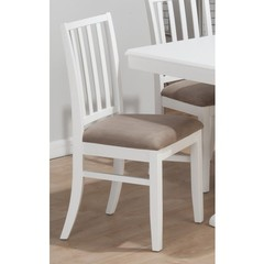 Buy Jofran Aspen White Stephie Side Chair w/ Seat Cushion and Slat Back on sale online