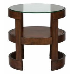 Buy Jofran Avon Birch 24x24 Round End Table w/ Tempered Glass Top on sale online