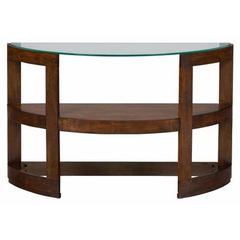 Buy Jofran Avon Birch 48x17 Demilune Sofa Table w/ Tempered Glass Top on sale online
