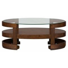 Buy Jofran Avon Birch 48x26 Oval Cocktail Table w/ Casters and Shelf on sale online
