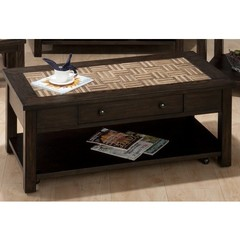 Buy Jofran Barkley Dark Elm 48x24 Rectangular Cocktail Table w/ Wood Tile Top, Pull-Thru Drawer, Shelf and Casters on sale online