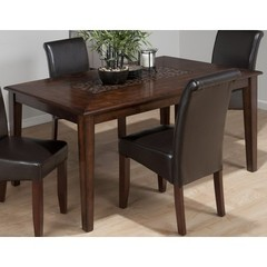 Buy Jofran Baroque Brown 64x38 Rectangular Dining Table w/ Fixed Top and Mosaic Inlay on sale online
