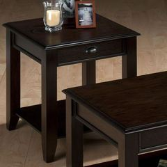 Buy Jofran Bartley Oak 22 Inch Square End Table w/ Drawer, Shelf and Oak Veneer in Espresso, Dark Wood on sale online