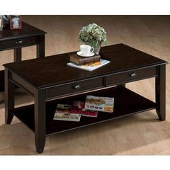 Buy Jofran Bartley Oak 48x24 Rectangular Cocktail Table w/ 2 Drawers, Shelf and Oak Veneer in Espresso, Dark Wood on sale online