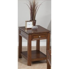 Buy Jofran Bowie Birch 24x16 Rectangular Chairside Table w/ Drawer and Shelf on sale online