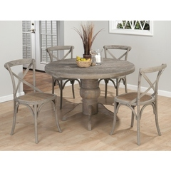 Buy Jofran Burnt Grey 5 Piece 48x48 Round Dining Room Set w/ X Back Side Chair on sale online
