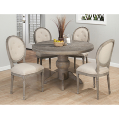 Buy Jofran Burnt Grey 5 Piece 48x48 Round Dining Room Set w/Oval Back Side Chair on sale online