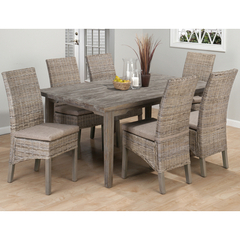 Buy Jofran Burnt Grey 7 Piece 72x42 Dining Room Set w/ Linen Seat Side Chair on sale online