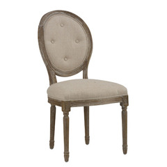 Buy Jofran Burnt Grey Side Chair w/ Linen Upholstery and Oval Tufted Back on sale online