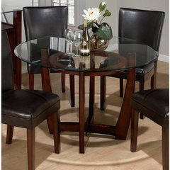 Buy Jofran Carlsbad Glass Top Pedestal 48x48 Round Dining Table on sale online