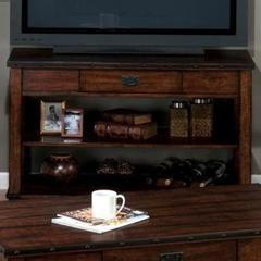 Buy Jofran Cassidy Brown 48x19 Rectangular Plank Top Sofa Table w/ 1 Drawer and 2 Shelves in Dark Wood on sale online