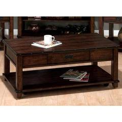Buy Jofran Cassidy Brown 48x26 Rectangular Plank Top Cocktail Table w/ Pull Thru Drawer and Casters in Dark Wood on sale online