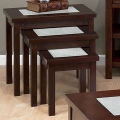 Buy Jofran Chadwick Espresso 23x19 Rectangular Nesting Tables w/ Crackled Glass Inserts in Espresso on sale online