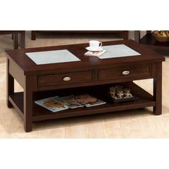 Buy Jofran Chadwick Espresso 48x26 Rectangular Cocktail Table w/ 2 Crackled Glass Inserts and 2 Pull-Thru Drawers in Espresso on sale online