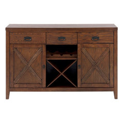 Buy Jofran Cirrus Oak 56x20 Transitional Server w/ 3 Drawers and Removable Wine Rack on sale online