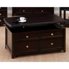 Buy Jofran Corranado Espresso 44x24 Rectangular Cocktail Table w/ Lift Top, 2 Pull-Through Drawers and Casters on sale online