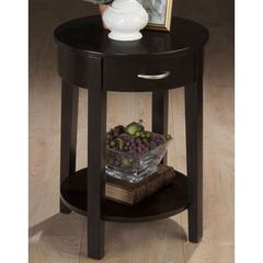 Buy Jofran Dark Merlot 18 Inch Round Chairside Table w/ 1 Drawer and Shelf in Merlot, Dark Wood on sale online