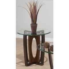 Buy Jofran Ellipse Cherry 24 Inch Round End Table w/ Tempered Glass Top on sale online